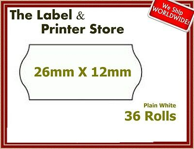 54,000 36 Rolls of Price Gun Labels, 26X12 (CT4) Permanent Plain White