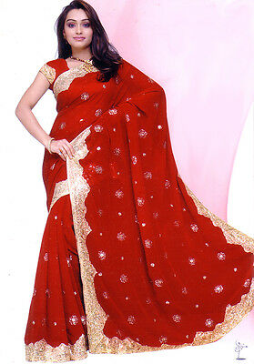 Red Bollywood Wedding Chiffon Saree Sari BellyDance Curtain ROBE KAFTAN Indian