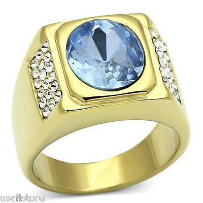 Mens Oval Shape Light Sapphire 18kt Gold Plated Stainless Steel Ring