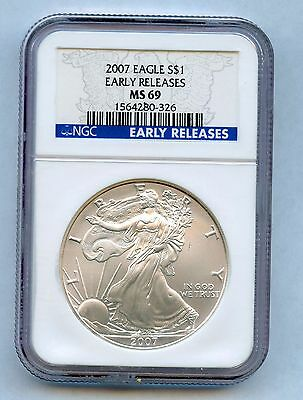 2007 American Silver Eagle - NGC MS69 - Early Release - Blast White!