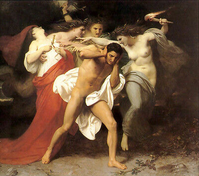 "Huge Oil painting Bouguereau young girls Portraits with nude male "" defame"""