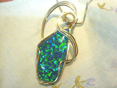 Wire Wrapped Synthetic Triplet Opal Pendant 31 x 17mm.Two tone. # 50671.