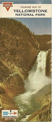 1968 CONOCO Gas Station Road Map YELLOWSTONE NATIONAL PARK Wyoming Old Faithful