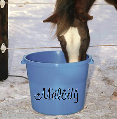 Personalised name STICKER for horse accessories feed water buckets grooming kit