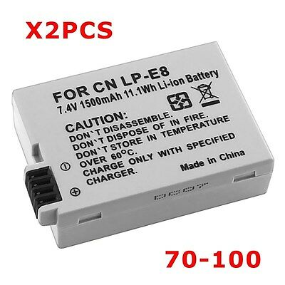 2PCS LP-E8 LPE8 Battery Canon EOS Digital Rebel T3i T4i Kiss X4 X5 X6i Camera