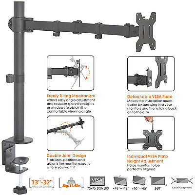 "Duramex Single Arm Computer LCD LED Monitor Desk stand Mount for UPTO 32"" 80-162"