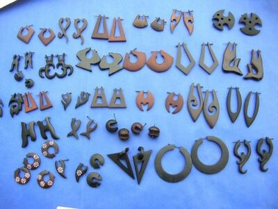 10 pairs organic jewelry wooden stick earrings made in Bali*Ship From US/Canada*