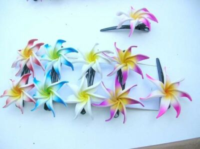 10 pairs wholesale lot Foam plumeria flower hair clips aloha*ShipFrom US/Canada*