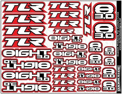 Custom vinyl printed TLR 8ight 3.0 decals. TLR 8 Eight stickers
