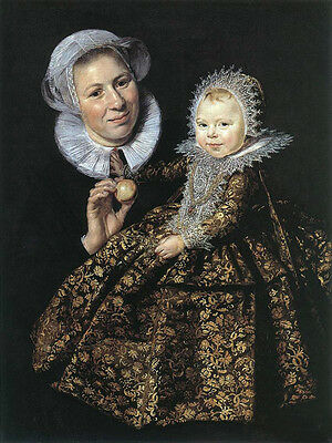 Huge Oil painting Frans Hals - Woman Catharina Hooft with her Nurse little girl