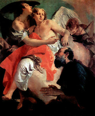 Large Oil painting The Angel Succouring Hagar with woman in landscape canvas