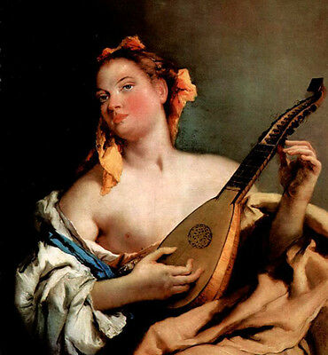 Large Oil painting Giovanni Battista Tiepolo - Young singer with a mandolin
