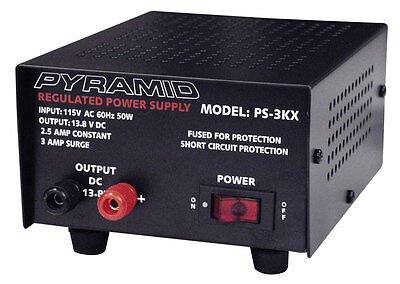 New Pyramid PS3KX 3-Amp 12-Volt DC Power Supply for Phones CB HAM Radio Scanners