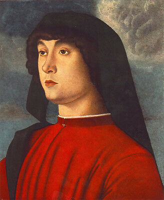 Nice Oil painting giovanni bellini - Male Portrait of a Young Man in Red canvas