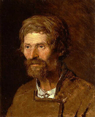 Nice Oil painting male portrait Head of an Old Ukranian Peasant canvas