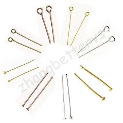 200 Pcs Gold & Silver Plated Eye 9 Pin Head Flat Pins Charms Findings 20-32 mm