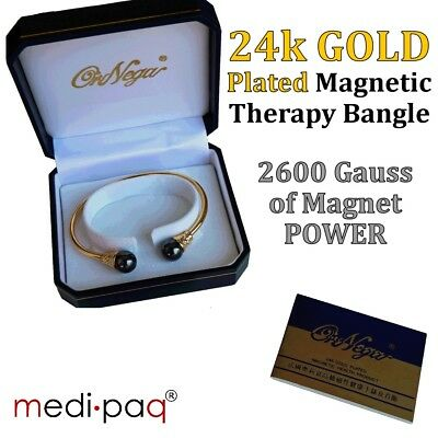 24K Gold Plated Magnetic Therapy Bangles + Earrings - Arthiritis Rheumatism Pain