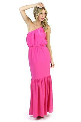 Halston Heritage One Shoulder Maxi Dress Ultra Pink 100 Silk Neon