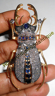 Antique Rose Cut Diamond 2.18ct Sapphire Victorian/Vintage Party Look Broach Pin