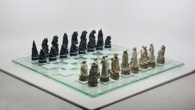 Chess Piece Set And Glass Board Vampire Dracula Werewolves Lycan Battle Statue