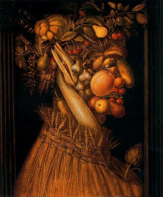 Beautiful Oil Giuseppe Arcimboldo - The Summer Fruits and corn portrait canvas