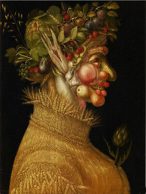 Large Oil Giuseppe Arcimboldo - The Summer rare Fruits and corn portrait