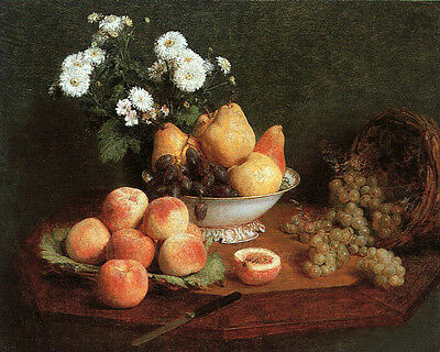 Huge beautiful Oil painting Latour - Flowers & Fruit on a Table still life