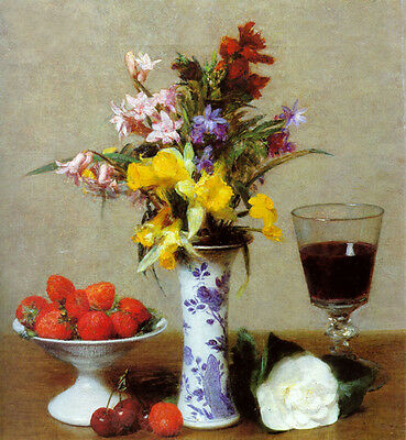 Oil painting Henri Fantin Latour - Fine roses flowers & Strawberries wine cup