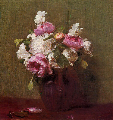 Art Oil painting Henri Fantin Latour - Flower White Peonies and Roses Narcissus