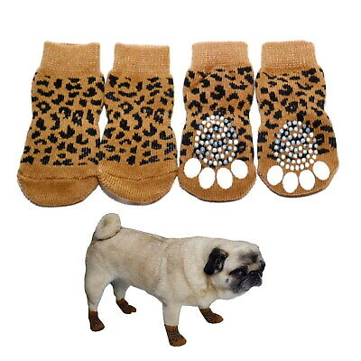 Dog Socks Non-Slip Leopard Print  S M L XL -  Pet Puppy Cat Paw Floor Protection
