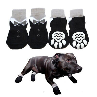 Dog Socks Non-Slip Tuxedo S M L XL - Pet Puppy Cat Paw Floor Protection Wedding