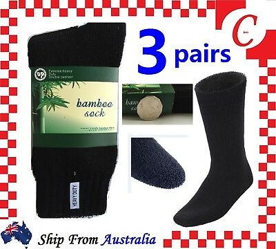 3Prs MEN MENS BAMBOO Thick WORK SOCKS Heavy Duty CUSHION BOOT Size 6-11 Black