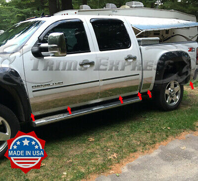 """Stainless Steel 9/"""" Wide Rocker Panel 12PC GMC Sierra Crew Cab Dually Bed 07-13"""