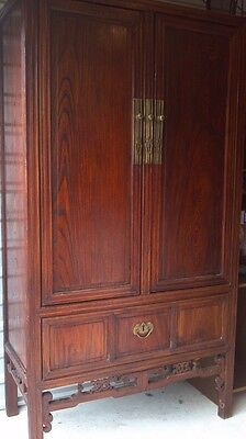 1800's  Antique Chinese Carved Armoire Wardrobe