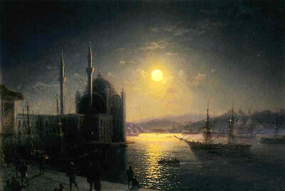Art Oil painting Ivan Constantinovich Aivazovsky A Lunar night on the Bosphorus