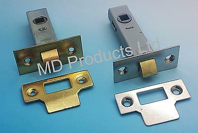 Tubular Mortice Door Latch Catch  Nickel or Brass Finish 64mm or 76 mm