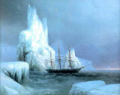 """Oil painting Ivan Constantinovich Aivazovsky - Icebergs with ship on ocean 36"""""""
