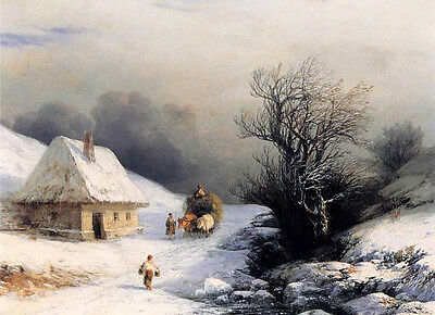 Oil painting Ivan Constantinovich Aivazovsky - Little Russian Ox Cart in Winter