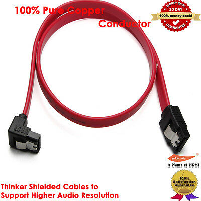 Red 18 Inch Sata Male to Male Cable SATA Sharp w/Latch For Hard Disk Drive/DVD