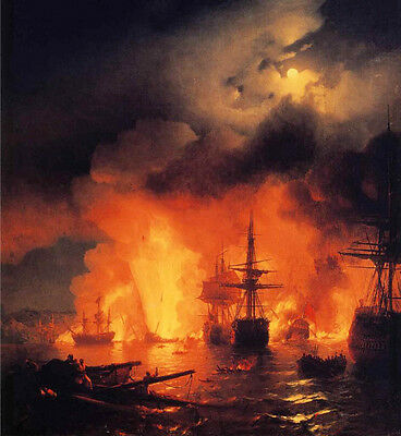 Nice Oil Ivan Constantinovich Aivazovsky - The Battle of Chesme Burning warships