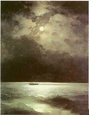 """Oil painting Ivan Constantinovich Aivazovsky - The Black Sea at night canvas 36"""""""