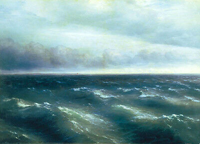 Oil painting Ivan Constantinovich Aivazovsky - The Black Sea with ocean waves