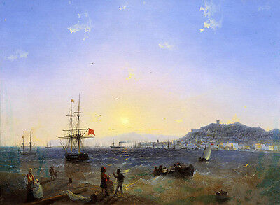 Oil painting Ivan Constantinovich Aivazovsky - View of Kerch -seascape with ship