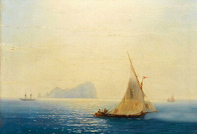 Perfect Oil painting Seascape Sailing boats off Capri canvas 36""