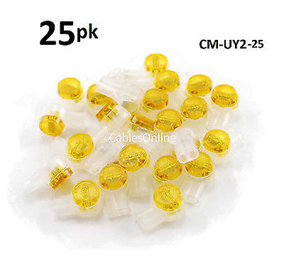 25-PACK Yellow 2-Wire IDC Connector, Splices 22-26 AWG Wire, CM-UY2-25