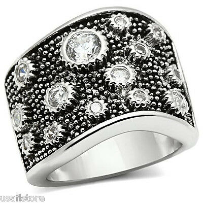 Ladies Wide Band Clear CZ Stone Spot Gear Silver White Gold EP Ring