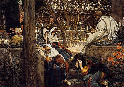 Perfect Oil painting Joseph Tissot - Jesus Christ at Bethany wih Christians 36""