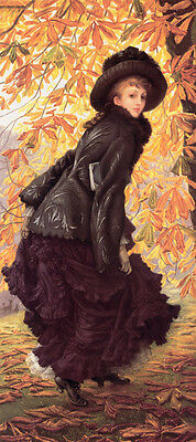 """Oil painting Joseph Tissot - Young lady walking on road in October landscape 36"""""""