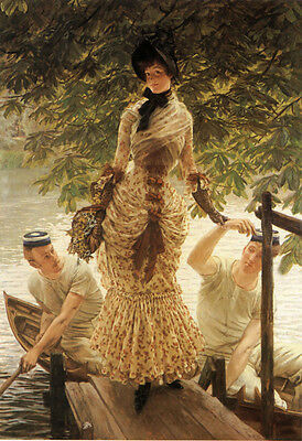 """Oil painting Joseph Tissot - Young lady On the Thames & Boatman landscape 36"""""""