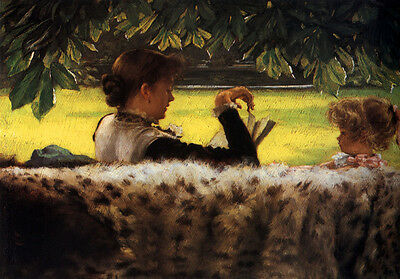 Art Oil painting Joseph Tissot - Young lady with little girl - Reading a Story